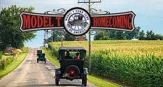 Photo: Model T's on rural Wayne County road