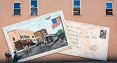 Photo: Postcard Mural in Cambridge City, Indiana
