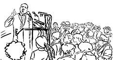 Graphic: Line drawing of MLKjr in front of a crowd