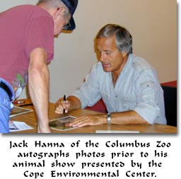 Jack Hanna of the Columbus Zoo autographs photos prior to his animal show presented by the Cope Environmental Center.