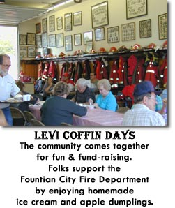 Levi Coffin Days - The community comes together for fun & fund-raising.  Folks support the Fountain City Fire Department by enjoying homemade ice cream and apple dumplings.