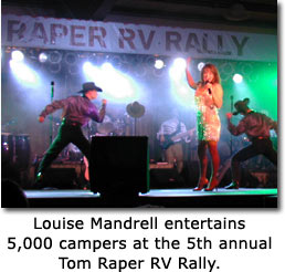 Louise Mandrell entertains 5,000 campers at the 5th annual Tom Raper RV Rally.