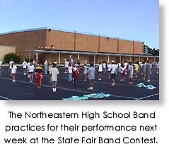 Northeastern High School band practices for the State Fair Band Contest.