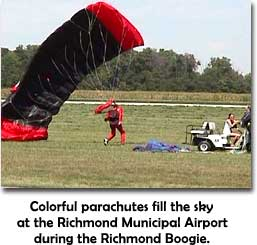 Red parachute at the 1999 Richmond Boogie, held at the Richmond Municipal Airport.