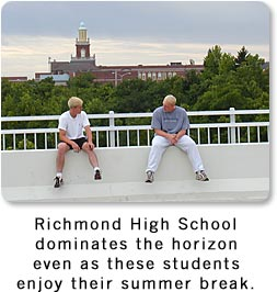Richmond High School is on the horizon as students converse on new bridge.
