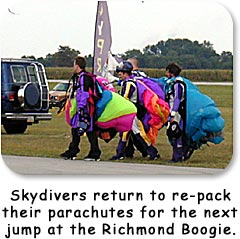 Skydivers return to repack their parachutes after a jump at the Richmond Boogie.