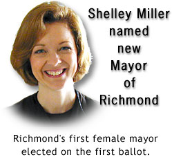 Shelley Miller elected as the first female Mayor of Richmond, Indiana.