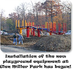 Installation of the new playground equipment at Glen Miller Park has begun!