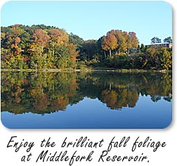 Enjoy the brilliant fall foliage at Middlefork Reservoir.