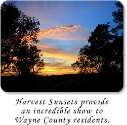 Harvest sunsets provide an incredible show to Wayne County residents.