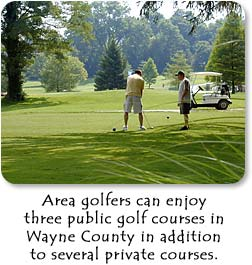 Area golfers can enjoy three public golf courses in additon to several private courses.