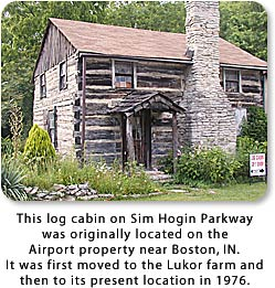 Log cabin on Sim Hogin Parkway in Richmond, Indiana.