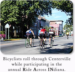 Bicyclists roll through Centerville while participating in the annual Ride Across INdiana.
