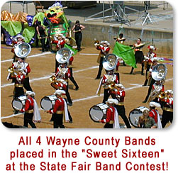 "All four Wayne County Band who participated placed in the ""Sweet Sixteen"" at the State Fair Band Contest."