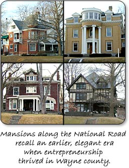 Mansions along the National Road on East Main Street in Richmond, Indiana.