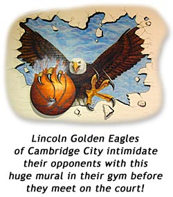 Mural in the gym of the Lincoln Golden Eagles in Cambridge City, Indiana