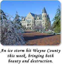 An ice storm hit Wayne County this week, bringing both beauty and destruction.