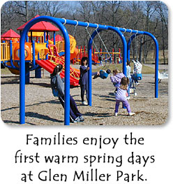 Families enjoy the first warm spring days at Glen Miller Park.
