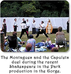 The Montagues and the Capulets duel during the recent Shakespeare in the park production in the Gorge.