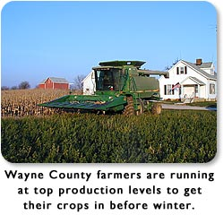 Wayne County farmers are running at top production levels to get their crops in before winter.