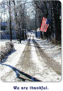 A flag hangs over a country lane along U.S. 40 between Centerville and Richmond, Indiana.