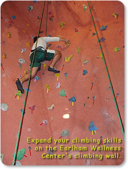 Expand your climbing skills on the Earlham Wellness Center's climbing wall.