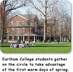 Earlham College students gather on the circle to take advantage of the first warm days of spring.