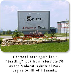 "Richmond once again has a ""bustling"" look from Interstate 70 as the Midwest Industrial Park begins to fill with tenants."
