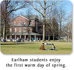Earlham students enjoy the first warm day of spring.