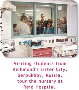 Visiting students from Richmond's Sister City, Serpukhov, Russia, tour the nursery at Reid Hosptial.
