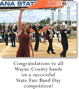 Congratulations to all Wayne County bands on a successful State Fair Band Day competition! (Featured band: Hagerstown)