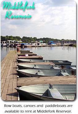 Middlefork Reservoir:  Row boats, canoes, and paddleboats are avialable to rent at Middlefork Reservoir.