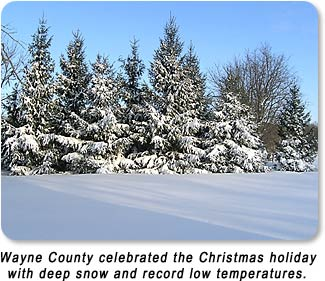 Wayne County celebrated the Christmas holiday with deep snow and record low temperatures.