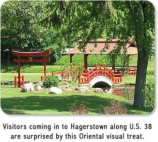 Visitors coming in to Hagerstown along U.S. 38 are surprised by this Oriental visual treat.