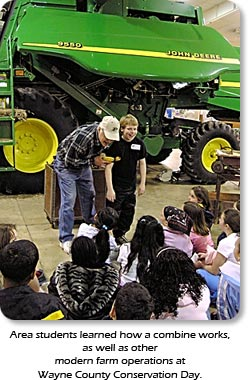 Area students learned how a combine works, as well as other modern farm operations at Wayne County Conservation Day.