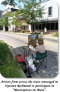 "Artists from across the state converged in Uptown Richmond to participate in ""Masterpieces on Main""."
