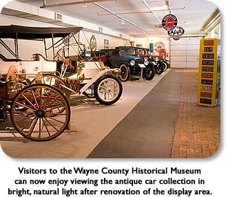 Visitors to the Wayne County Historical Museum can now enjoy viewing the antique car collection in birght, natural light after renovation of the display area.