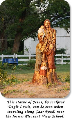 This statue of Jesus, by sculptor Dayle Lewis, can be seen when traveling along Gaar Road, near the former Pleasant View School.