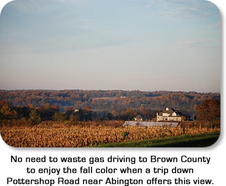 No need to waste gas driving to Brown County to enjoy the fall color when a trip down Pottershop Road near Abington offers this view!