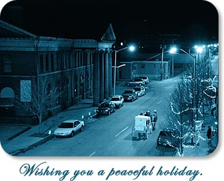 "Carriage ride throught the Depot District.  ""Wishing you a peaceful holiday."""