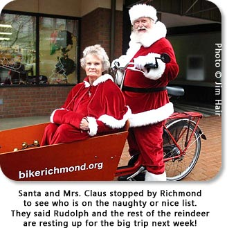 Santa and Mrs. Claus stopped by Richmond to see who is on the naughty or nice list.  They said Rudolph and the rest of the reindeer are resting up for the big trip next week!