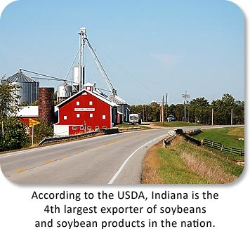 According to the USDA, Indiana is the 4th largest exporter of soybeans and soybean products in the nation.