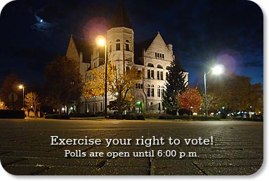 Exercise your right to vote!  Polls are open until 6:00 p.m.