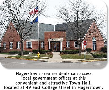 Hagerstown Town Hall:  Hagerstown area residents can access local government offices at this convenient and attractive Town Hall, located at 49 East College Street in Hagerstown.