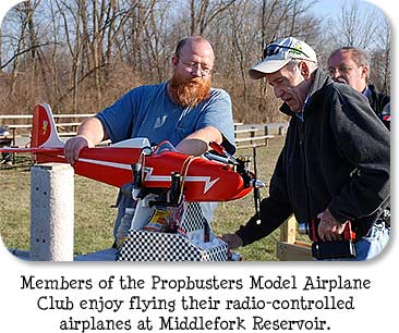 Members of the Propbusters Model Airplane Club enjoy flying their radio-controlled airplanes at Middlefork Reservoir.