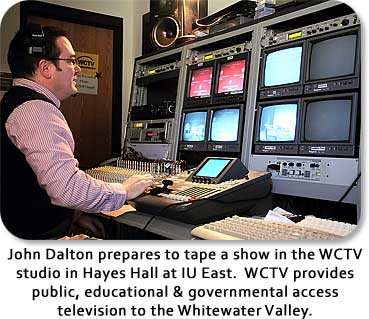 John Dalton prepares to tape a show in the WCTV studio in Hayes Hall at IU East.  WCTV provides public, educational, & governmental access television to the Whitewater Valley.