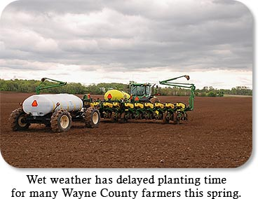 West weather has delayed planting time for many Wayne County farmers this spring.