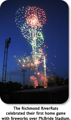 The Richmond RiverRats celebrated their first home game with fireworks over McBride Stadium.