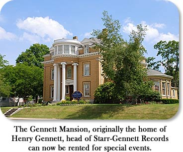 The Gennett Mansion, originally the home of Henry Gennett, head of Starr-Gennett Records can now be rented for special events.