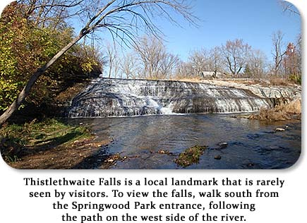 Thistlethwaite Falls is a local landmark that is rarely seen by visitors.  To view the falls, walk south from the Springwood Park entrance, following the path on the west side of the river.